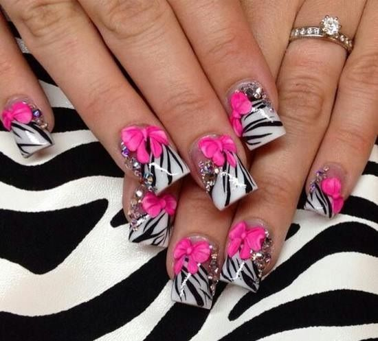 13 best pink nails images on pinterest hot pink nails makeup hot pink tip with black and wire design nails prinsesfo Choice Image