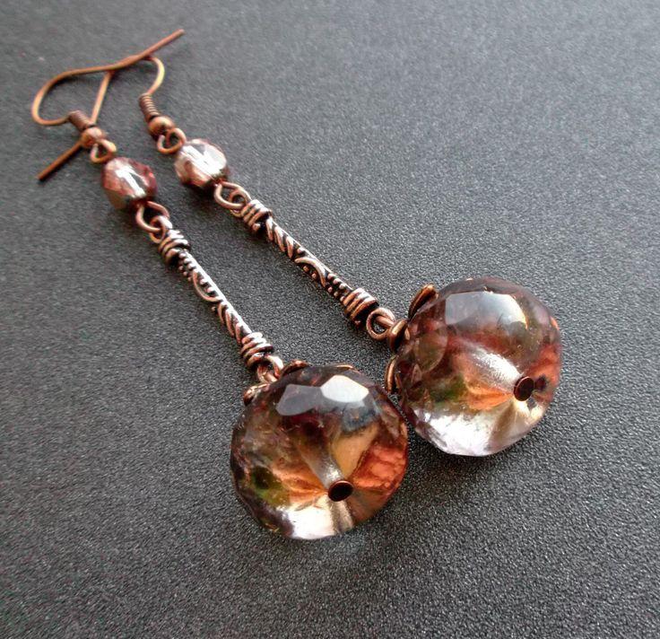 earrings crystal. Dangle earrings. GLASS BEAD Czech. crystal Czech. copper details. copper fittings. by TatjJewelryWithSoul on Etsy https://www.etsy.com/listing/251016998/earrings-crystal-dangle-earrings-glass