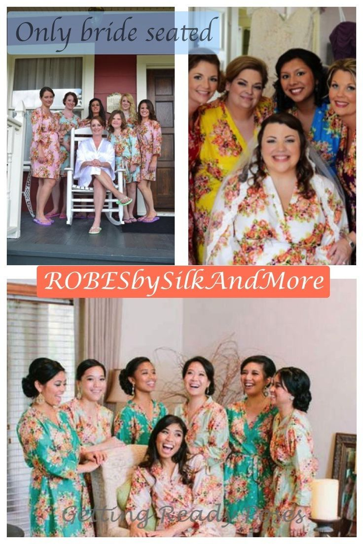 Only bride seated - Bridesmaids Getting Ready Poses Robes by silkandmore - Bright and Colorful Bridal Party Robes, $25 (http://robesbysilkandmore.com/bright-and-colorful-bridal-party-robes/)