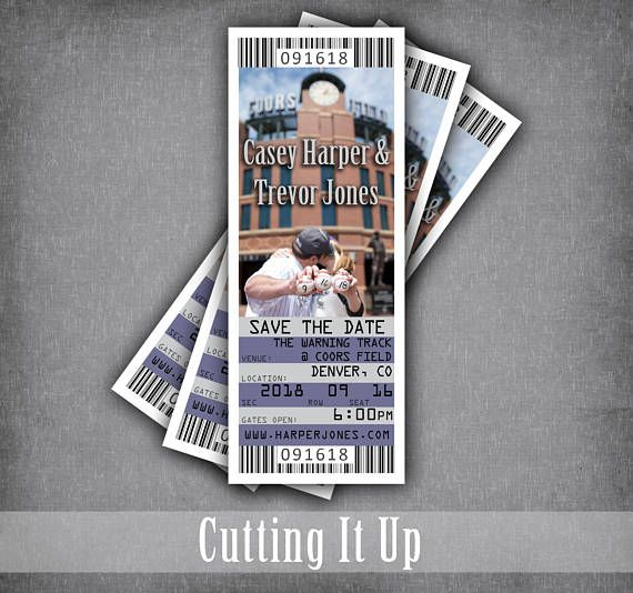 Baseball Save The Date Ticket, Baseball Wedding, Ticket Save The Date, Sports Save The Date, Colorado Rockies, Coors Field, DIY Template by CuttingItUp