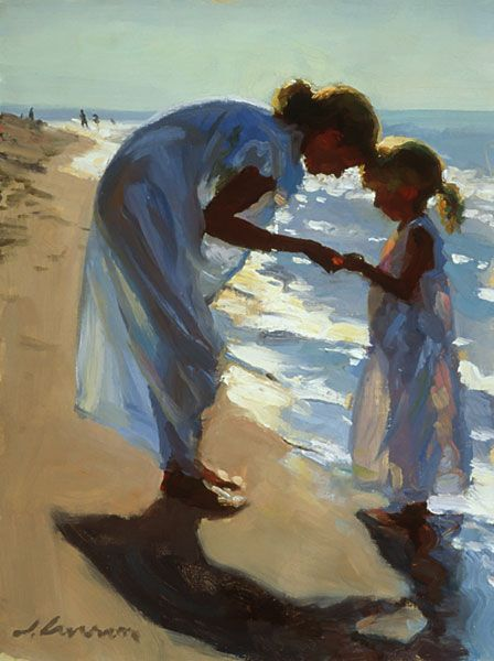 """Beach Treasures"" - oil by ©Jeffrey T. Larson - www.jeffreytlarson.com/image.asp?id=61=Figures"