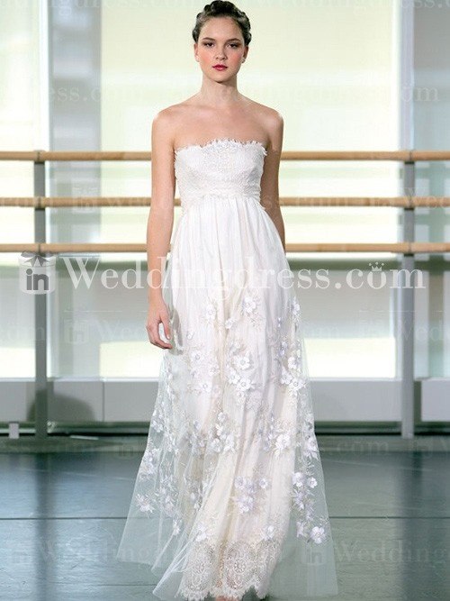 Fairy Strapless Tulle Lace Destination Wedding Gown Bc082