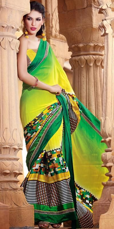 USD 240.21 Yellow Faux Georgette Party Wear Saree  28401