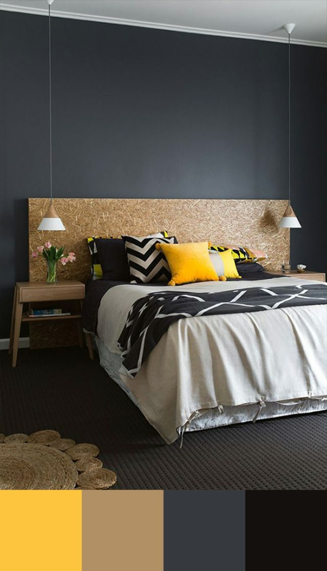Idée Peinture Chambre Adulte Design : Yellow and Brown Bedroom Color Schemes