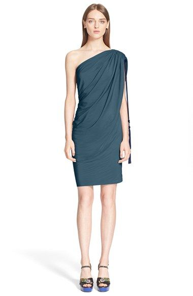 the rope tie! Lanvin One Shoulder Dress
