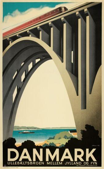 """Poster design - old Danish poster for a bridge """"Lillebæltsbroen""""  (1935)"""