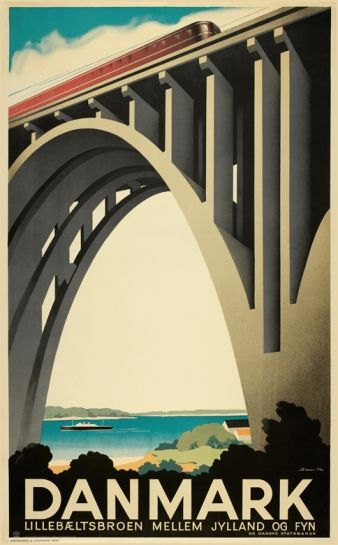 "Poster design - old Danish poster for a bridge ""Lillebæltsbroen""  (1935)"