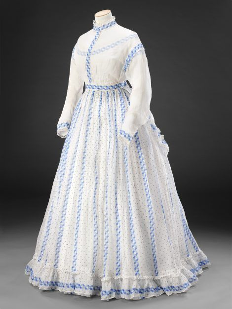 Late 1860s sheer cotton dress. John Bright Collection.