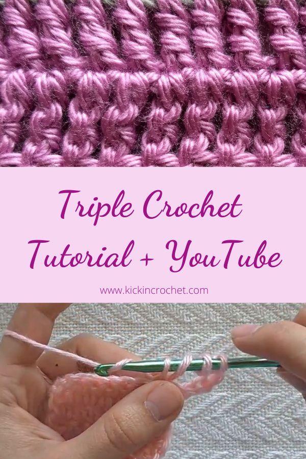 How To Triple Crochet Learn To Crochet Video Tutorial Kickin Crochet How To Triple Crochet Crochet Tutorial Youtube Crochet Videos Tutorials