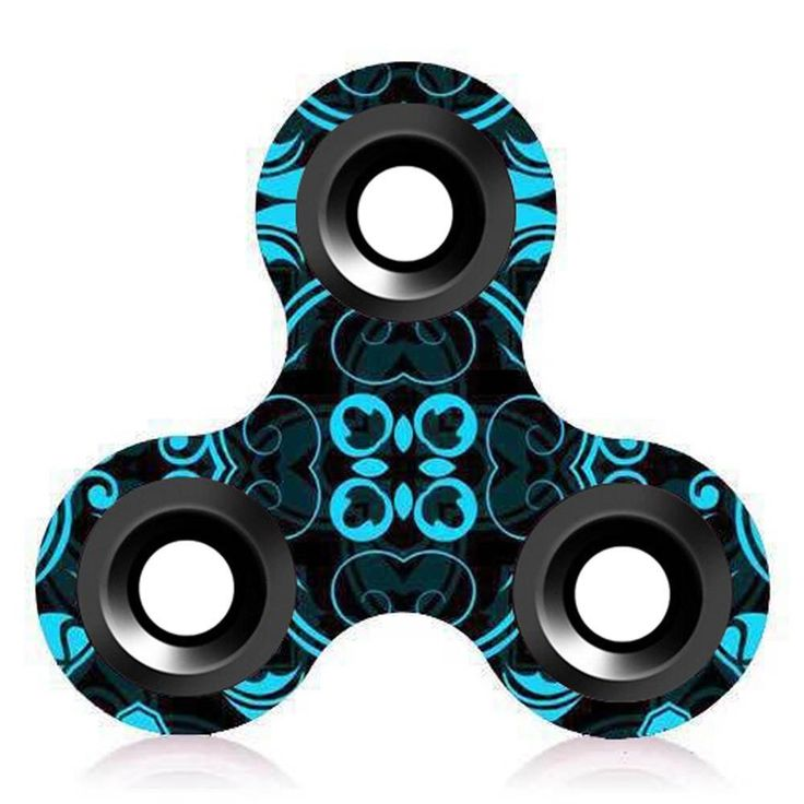 Blue Black Tropical Patter Hand Finger Fidget Spinner