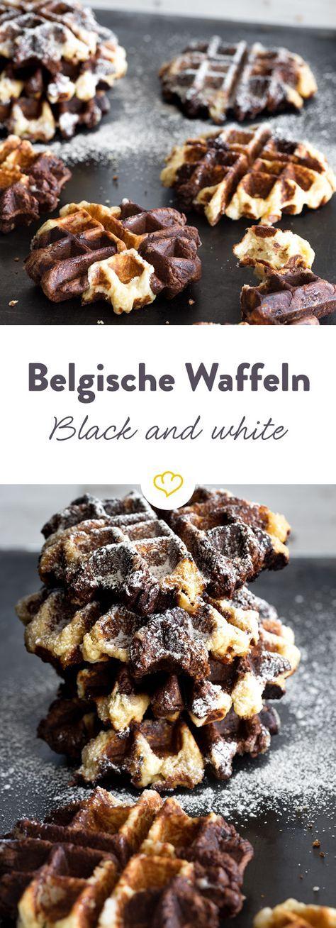 Gefleckte Leckerbissen: Belgische Black and White Waffeln
