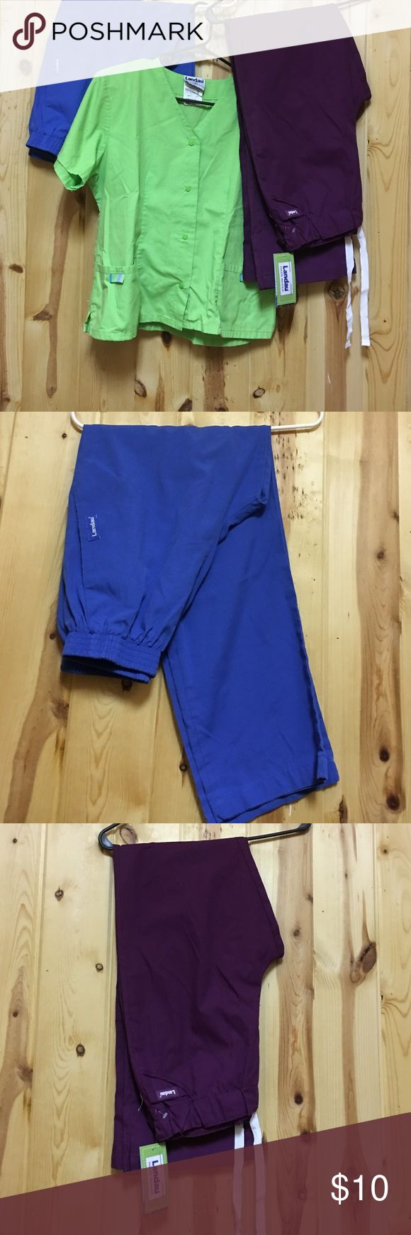 Landau Scrubs Pant & Top GUC $8 Each Small Good Used Condition Large Green Top Maroon Pant NWT Small Blue GUC Pant is Regular Length Landau Other