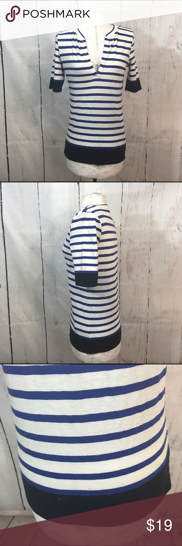 """💛💛 J CREW STRIPED HENLEY TSHIRT B7 Condition: has pilling throughout  Approximate measurements (laying flat): 16.5"""" bust 24"""" Length  Item location: bin 7  ❤no trades/no modeling❤ J. Crew Tops Tees - Short Sleeve"""