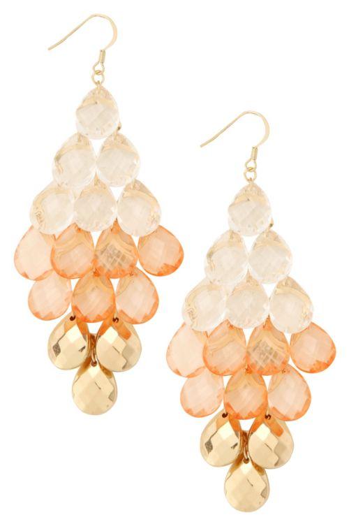 Coral, Clear + Gold Beaded Kite Chandelier Earrings