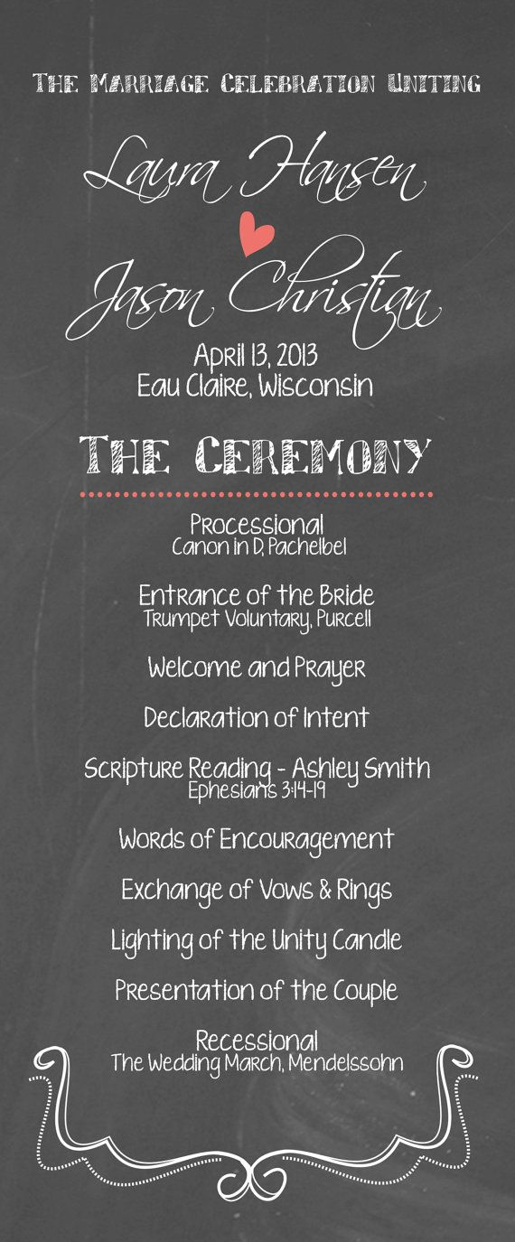 Diy Printable Wedding Program Chalkboard By Themunch On Etsy