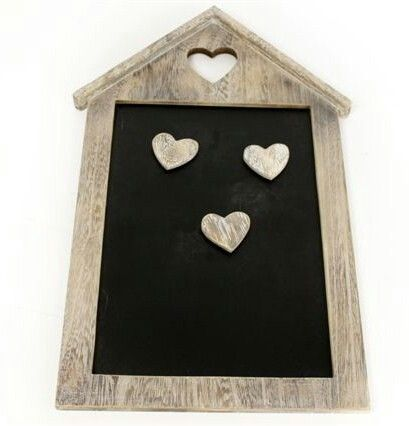 Limewash Memo / Blackboard  Rustic limewash wooden house shaped blackboard with cut out heart and 2 wooden heart magnets.  The perfect shabby chic accessory for any busy kitchen.  Size - H40cm W26cm  Www.sweet-chics.co.uk