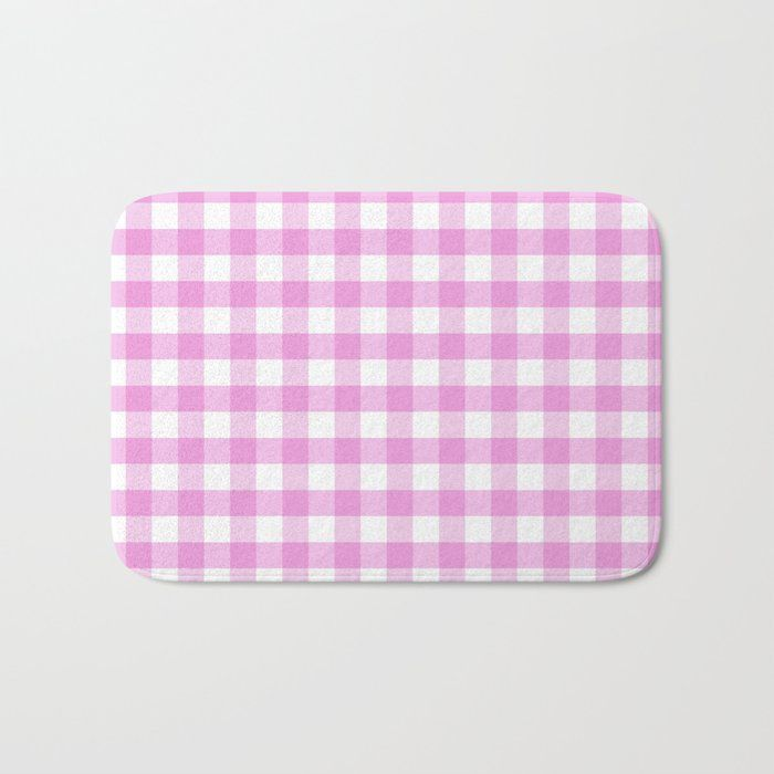 Nantucket Summer Collection Pink Gingham Bath Mat Pink Gingham