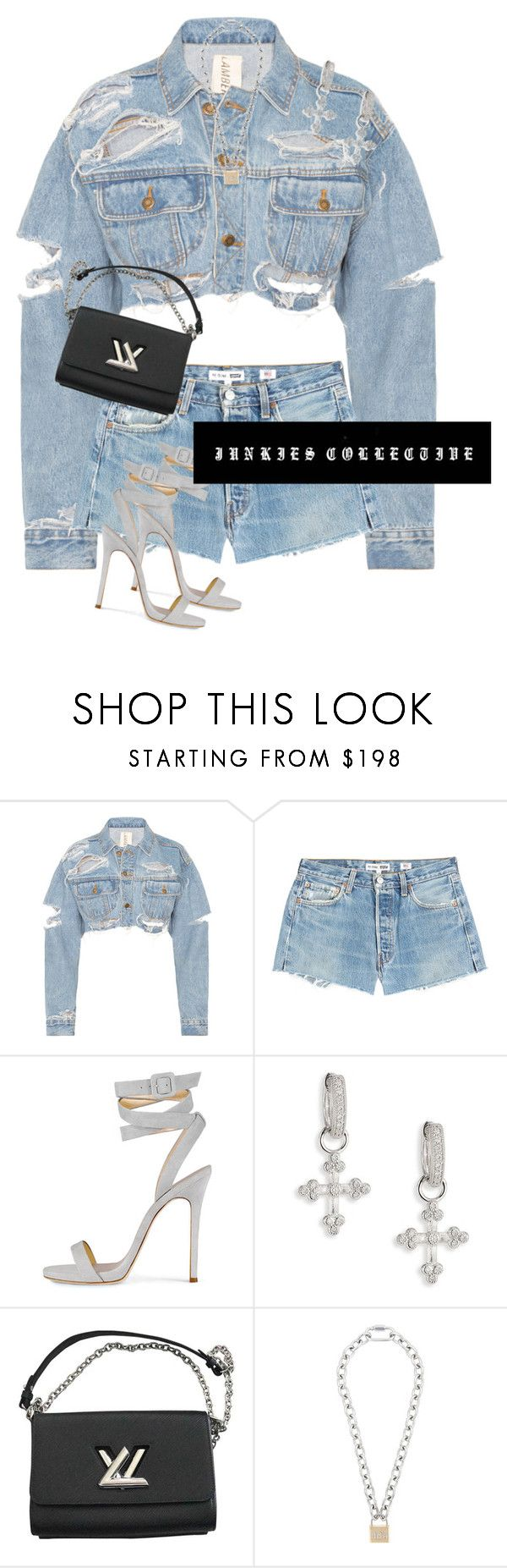 """Denim day"" by junkiescollective ❤ liked on Polyvore featuring RE/DONE, JudeFrances, Louis Vuitton and Hood by Air"