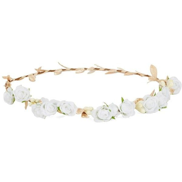 Robert Rose Floral Crown ($24) ❤ liked on Polyvore featuring accessories, hair accessories, hats, jewelry, hair, white, floral crown, white flower garland, flower crown and robert rose