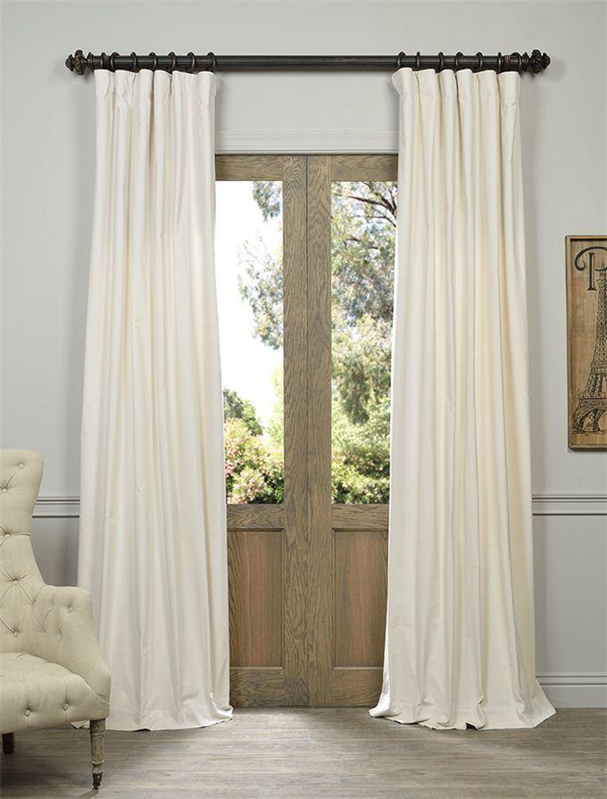 Ivory Vintage Cotton Velvet Curtain - SKU: VCCH-HYR1208 at https://halfpricedrapes.com
