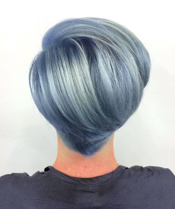 A beautiful blue hair style inspired by Jen's love for clouds and denim… She prelightened with Wella Blondor, then toned with 10/1 pastel and Instamatic in Ocean Mist. #bluehair #hairgoals #shorthair