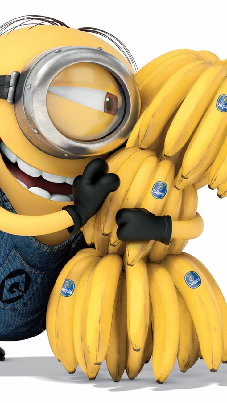 2014 Happy Despicable Me minion with lots of bananas iphone 6 wallpaper - smile, yellow