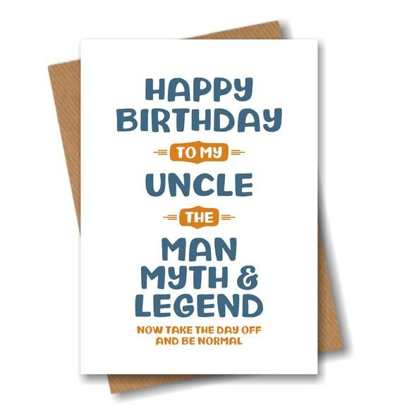 Uncle Birthday Card Funny Birthday Card For Uncle The Man Etsy In 2021 Birthday Card For Nephew Funny Birthday Cards Birthday Cards For Brother