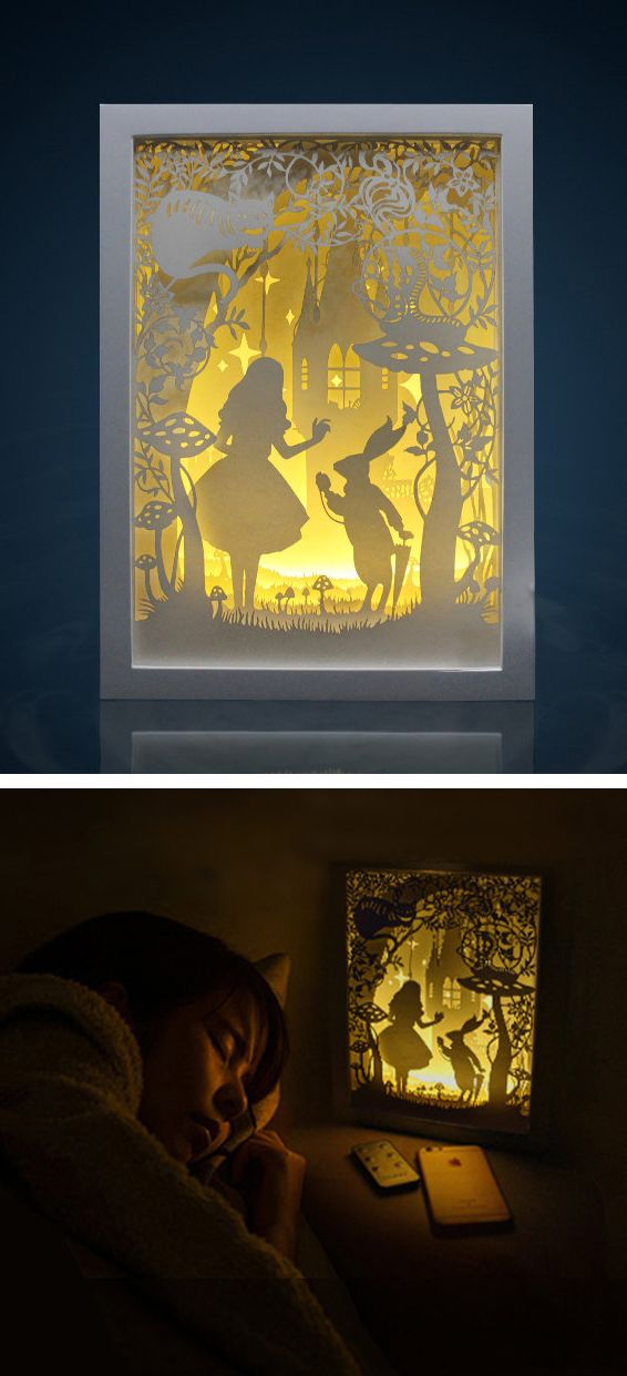 Lightbox Alice in wonderland paper cut Light box Night light (Diy Art Paper)