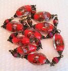 Vintage Red Venetian Murano gold foil oval glass bead necklace wedding cake