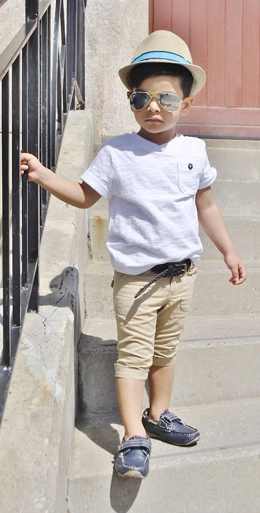 ministreetstyle: old navy shirt, gap capri's, childrens place fidora, aviators and loafers...this will eventually be Benji