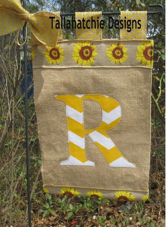 Personalized Burlap Sunflower Garden Flag Initial Burlap Yard Flag Spring  Summer Garden Flag