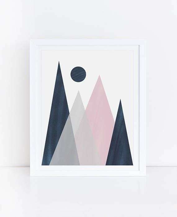 Navy Pink Nursery Decor Geometric Mountain Geometric Print