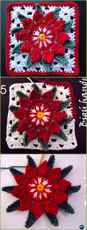 Crochet Cactus Flower Granny Square Free Pattern - Crochet Granny Square Free Patterns