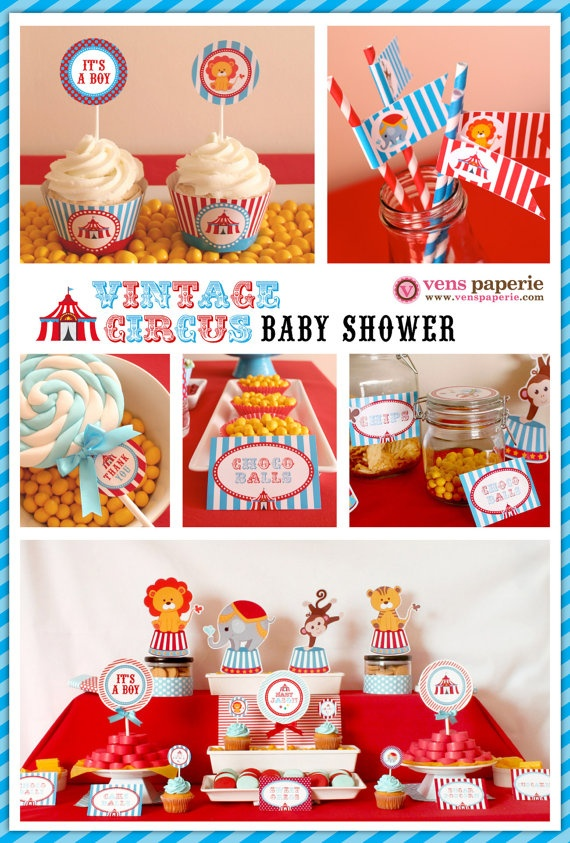 Vintage Blue Carnival Circus Baby Shower