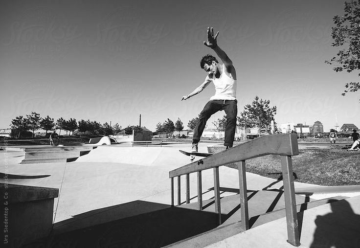 Skateboard rail grind by Urs Siedentop & Co