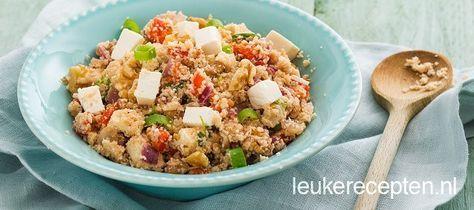 Dit recept is ideaal als je een dagje lekker light wil doen en/of geen vlees wil eten: couscous gemaakt van bloemkool met feta en noten
