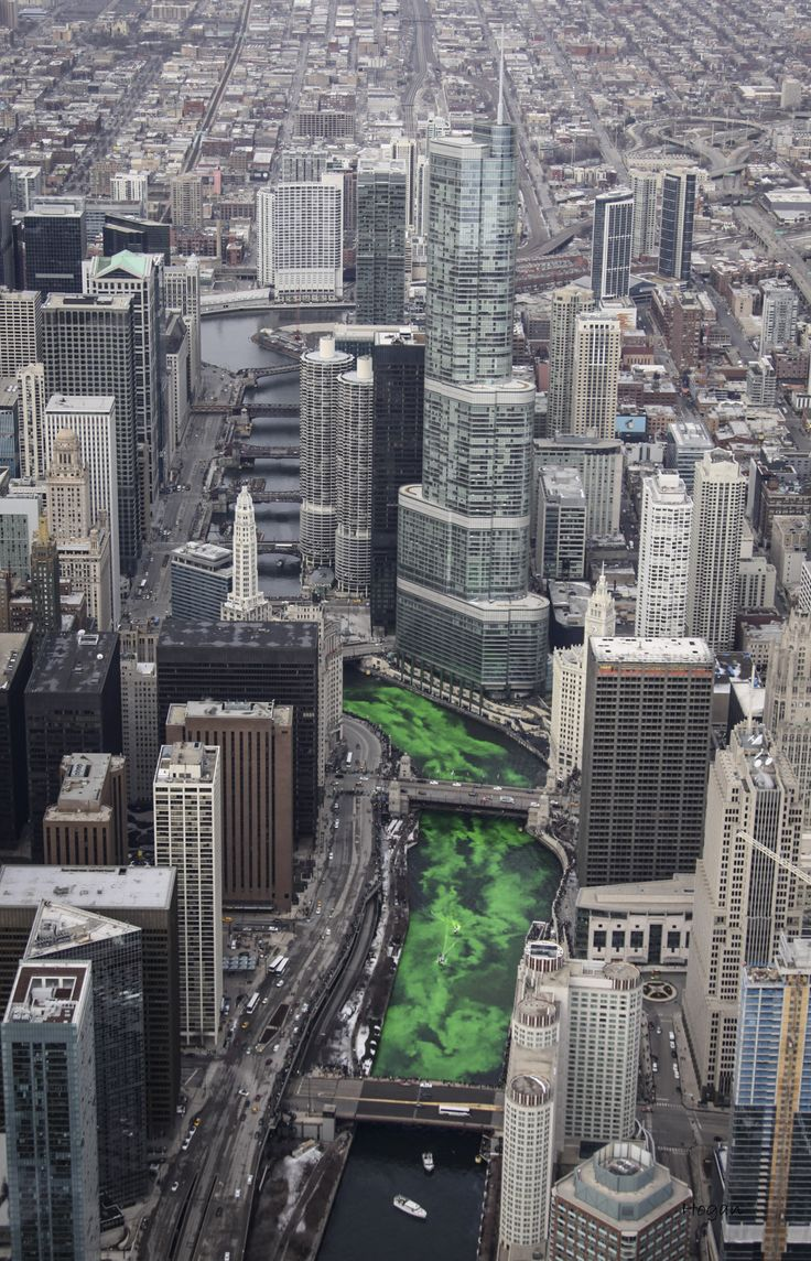 Aerial view of the annual dyeing of the Chicago River that kicked off Chicago's St. Patrick's Day festivities.