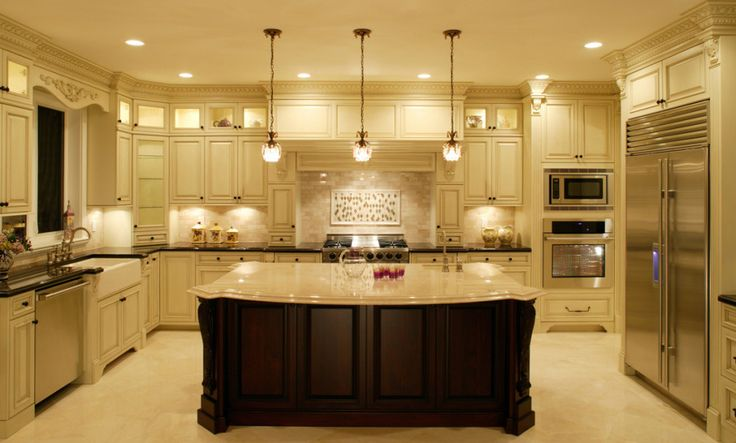Charming Remodeled Kitchen Idea With Gorgeous Beige Kitchen Cabinets Surrounds The Room And Dark