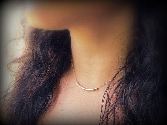 Raise the Bar, Gold Bar Necklace, Simple Modern Gold Tube on Thin Gold Chain, 14k Gold Bar Necklace, Horizontal Bar Necklace, Gold Tube via Etsy