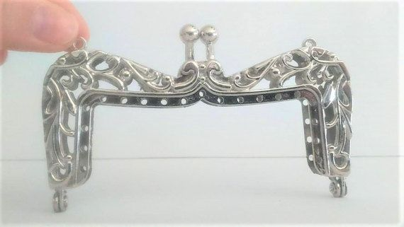 Metal purse frame with sewing holes in silver 105 by ROYALcraftPT