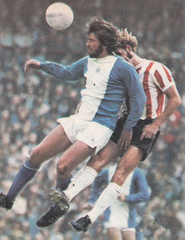 5th August 1972. Birmingham City centre forward Bob Latchford challenged by Stoke City centre half Dennis Smith, at the City Ground.