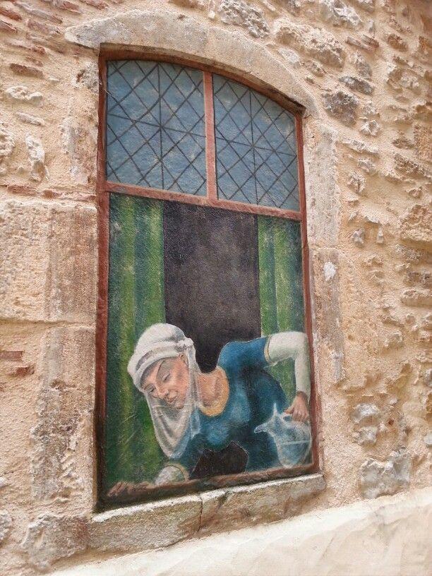 Muurschildering.