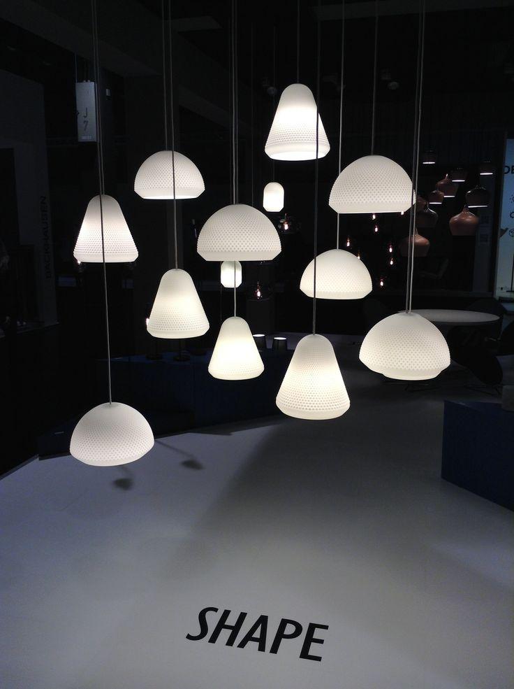 S H A P E Pendants. Series of 3 different shaps. Designed by Venessa Eilert. Matt withe glass. News at Imm Cologne Köln January 2014. Frandsen Lighting A/S.