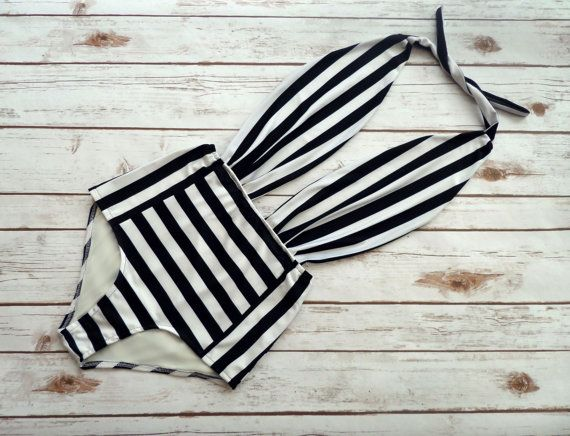 One Piece Bather Swimsuit High Waisted Vintage Style Pin-up Swimming Costume - Black and White Stripe Retro Bathing Suit Swimwear