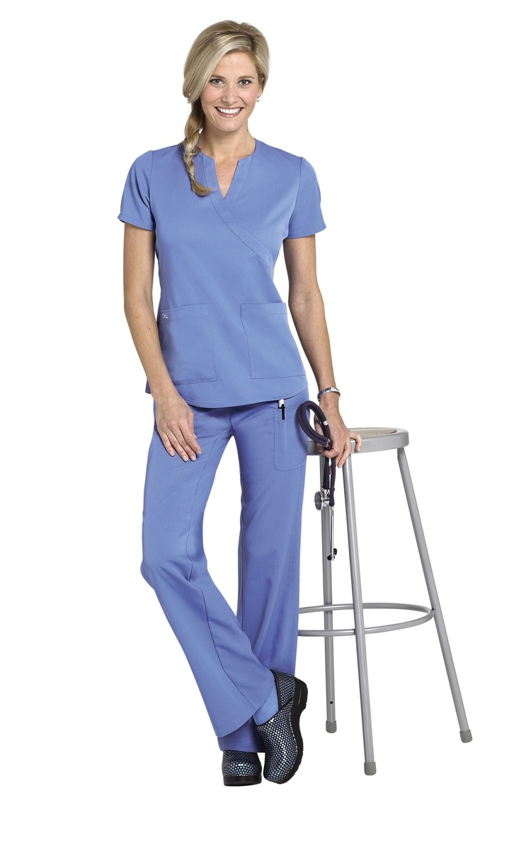 NrG by Barco 2-pocket mock-wrap scrub top. I have 2 sets like this in dark grey (required scrub color for work).
