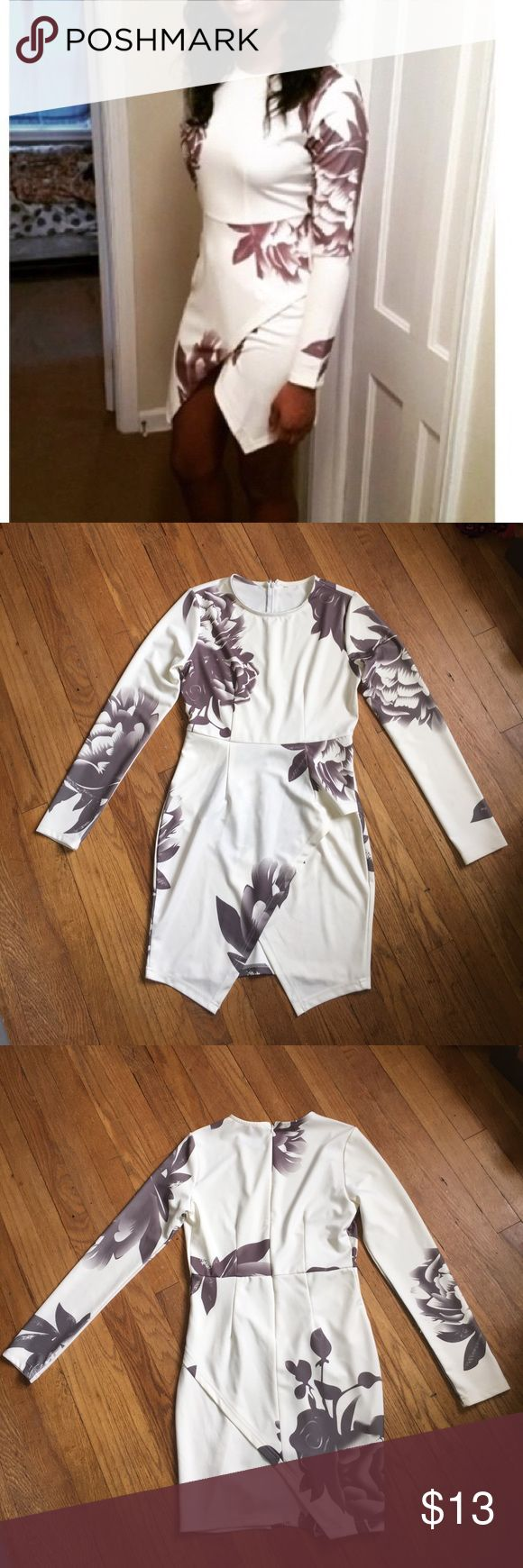 Floral Bodycon Dress Long sleeve white dress with grey flowers. Size large. Worn once. Polyester and spandex material. Dresses Long Sleeve