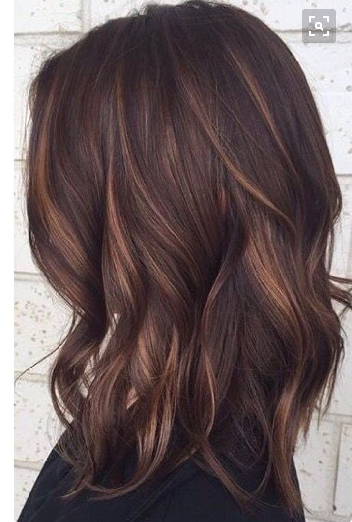 Dark Brunette With Hand Painted Bayalage Low Lights Hair
