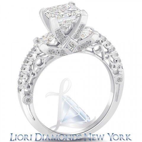 3.05 Carat G-VS1 Certified Princess Cut Diamond Engagement Ring 18k White Gold - Side-stone Engagement Rings - Engagement - Lioridiamonds.com