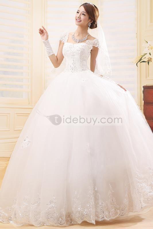 アメージングAライン床長さオフショルダーレースウェディングドレス