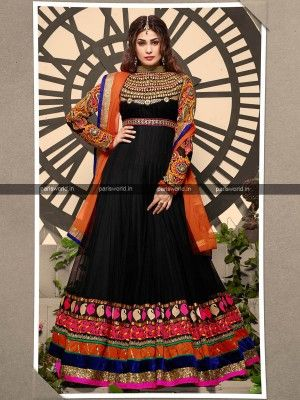 Black Orange Georgette Elegant Anarkali Salwar Kameez                Eid salwar Collection parisworld.in